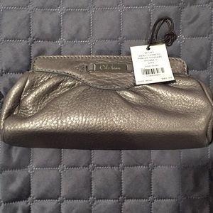 NWT Cole Haan Gunmetal cosmetic bag/clutch